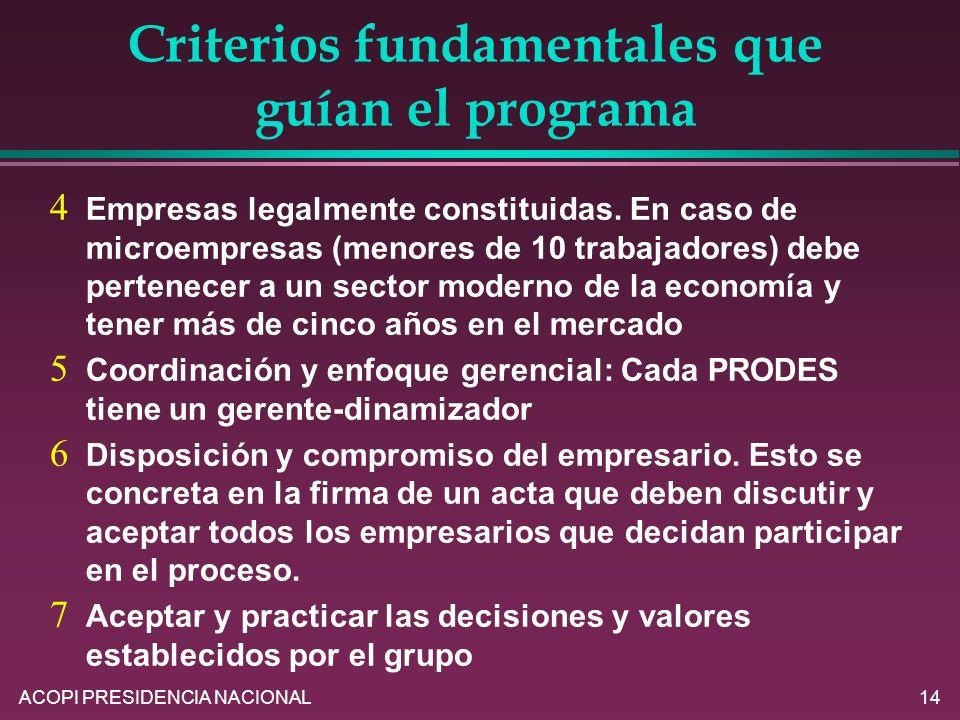 ACOPI PRESIDENCIA NACIONAL14 Criterios fundamentales que guían el programa Empresas legalmente constituidas. En caso de microempresas (menores de 10 t