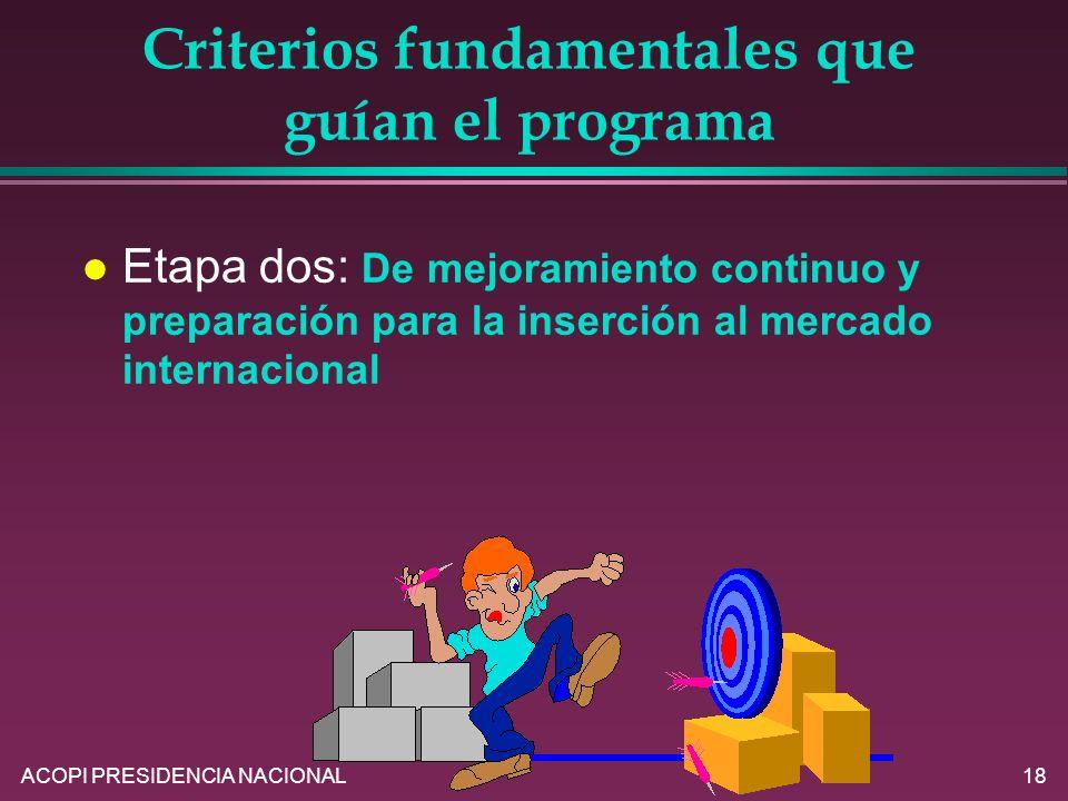ACOPI PRESIDENCIA NACIONAL18 Criterios fundamentales que guían el programa l Etapa dos: De mejoramiento continuo y preparación para la inserción al me