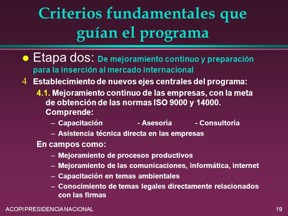ACOPI PRESIDENCIA NACIONAL19 Criterios fundamentales que guían el programa l Etapa dos: De mejoramiento continuo y preparación para la inserción al me
