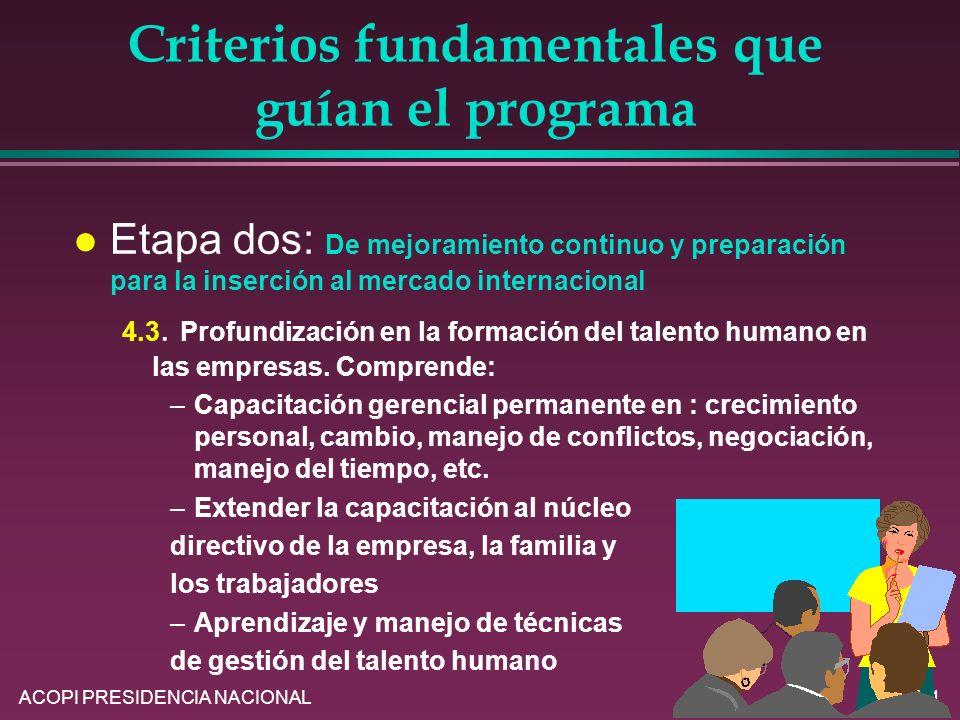 ACOPI PRESIDENCIA NACIONAL21 Criterios fundamentales que guían el programa l Etapa dos: De mejoramiento continuo y preparación para la inserción al me