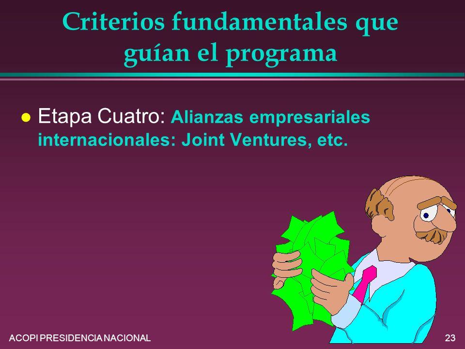 ACOPI PRESIDENCIA NACIONAL23 Criterios fundamentales que guían el programa l Etapa Cuatro: Alianzas empresariales internacionales: Joint Ventures, etc