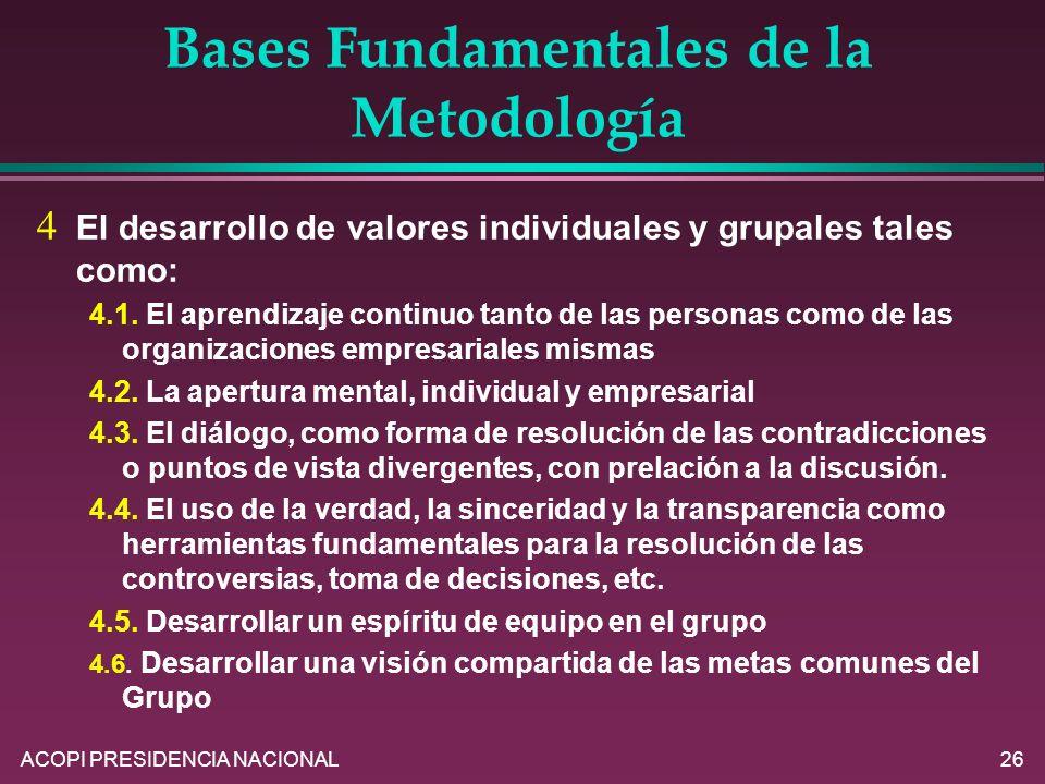 ACOPI PRESIDENCIA NACIONAL26 Bases Fundamentales de la Metodología El desarrollo de valores individuales y grupales tales como: 4.1. El aprendizaje co