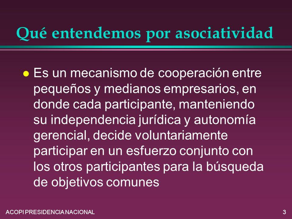 ACOPI PRESIDENCIA NACIONAL3 Qué entendemos por asociatividad l Es un mecanismo de cooperación entre pequeños y medianos empresarios, en donde cada par