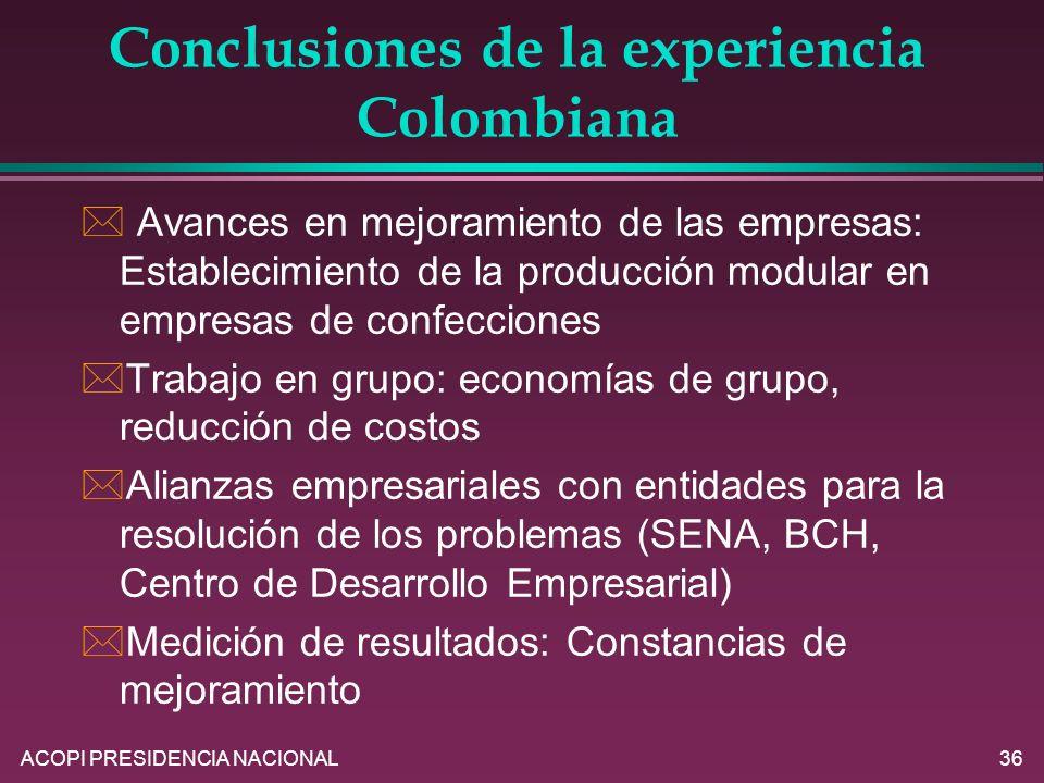 ACOPI PRESIDENCIA NACIONAL36 * Avances en mejoramiento de las empresas: Establecimiento de la producción modular en empresas de confecciones *Trabajo