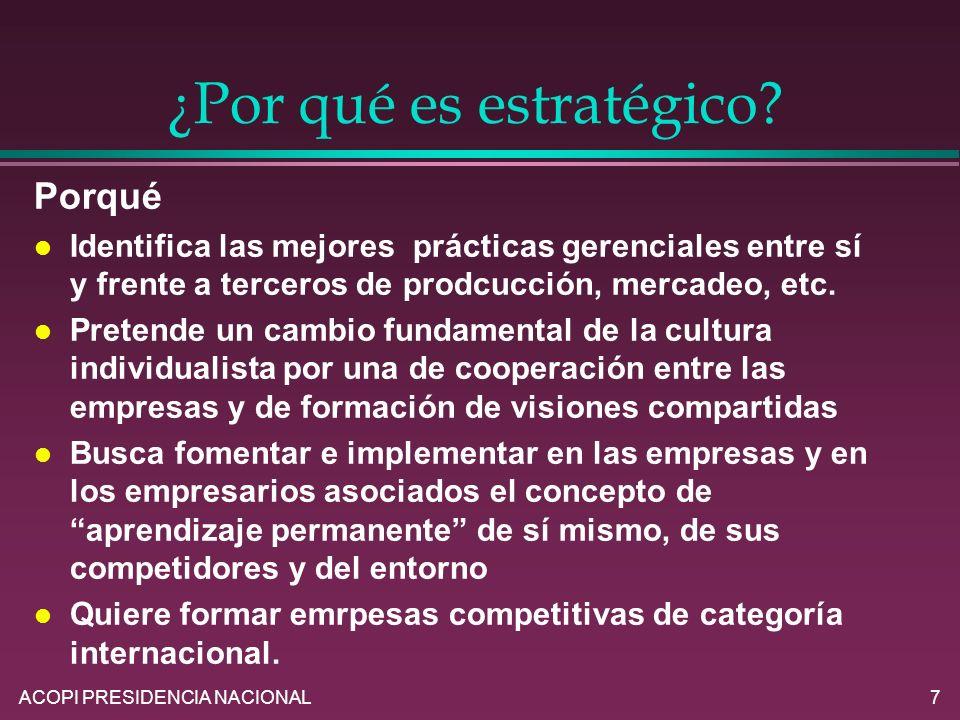 ACOPI PRESIDENCIA NACIONAL7 ¿Por qué es estratégico? Porqué l Identifica las mejores prácticas gerenciales entre sí y frente a terceros de prodcucción