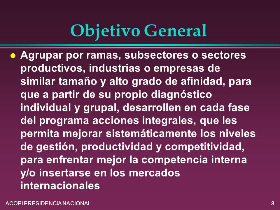 ACOPI PRESIDENCIA NACIONAL8 Objetivo General l Agrupar por ramas, subsectores o sectores productivos, industrias o empresas de similar tamaño y alto g