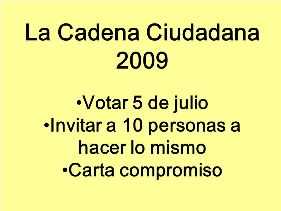 La Cadena Ciudadana 2009 Votar 5 de julio Invitar a 10 personas a hacer lo mismo Carta compromiso