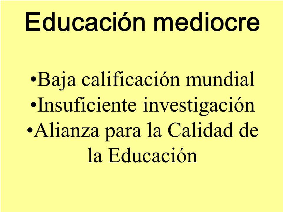 Educación mediocre Baja calificación mundial Insuficiente investigación Alianza para la Calidad de la Educación