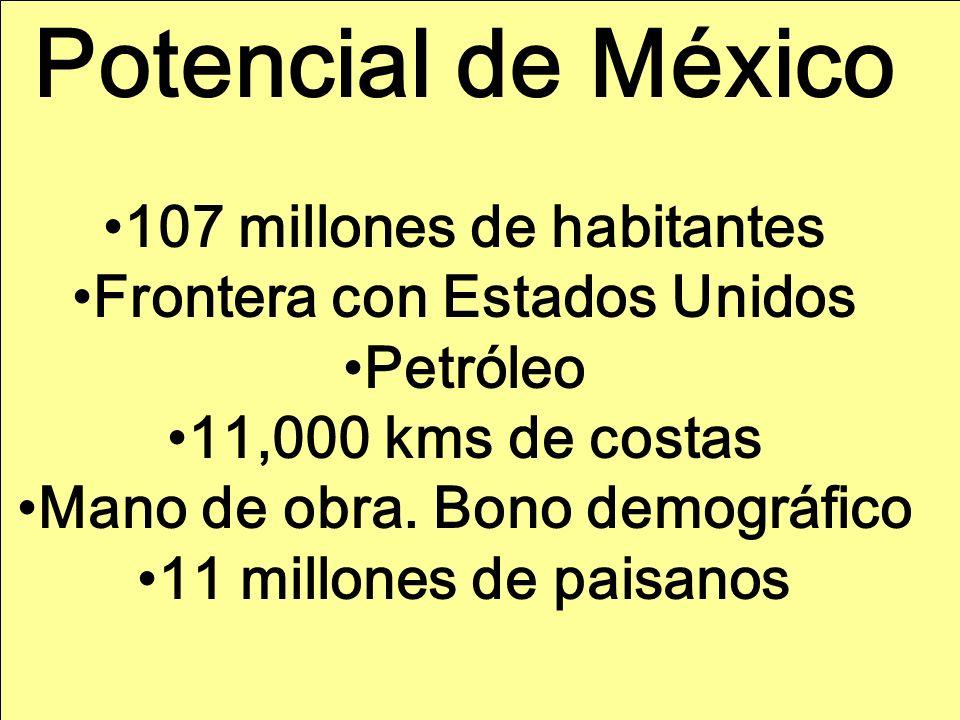 Potencial de México 107 millones de habitantes Frontera con Estados Unidos Petróleo 11,000 kms de costas Mano de obra.
