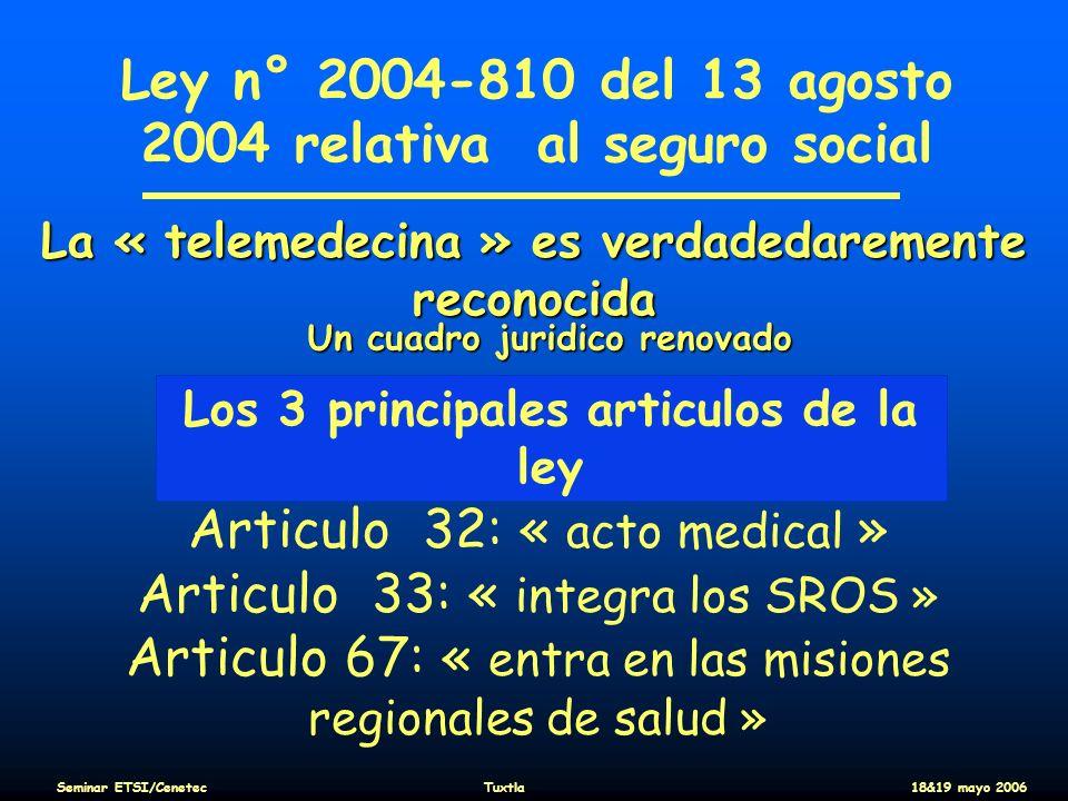 Ley n° 2004-810 del 13 agosto 2004 relativa al seguro social Los 3 principales articulos de la ley Articulo 32: « acto medical » Articulo 33: « integr