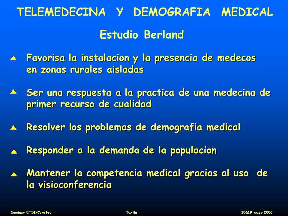 TELEMEDECINA Y DEMOGRAFIA MEDICAL Estudio Berland Favorisa la instalacion y la presencia de medecos en zonas rurales aisladas Ser una respuesta a la p