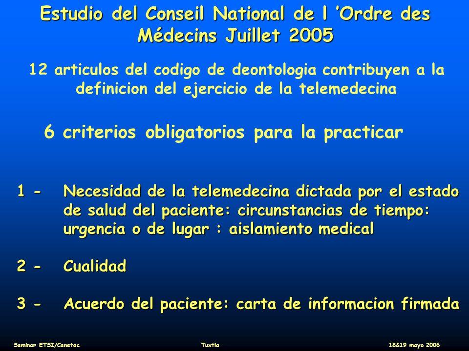 Estudio del Conseil National de l Ordre des Médecins Juillet 2005 12 articulos del codigo de deontologia contribuyen a la definicion del ejercicio de