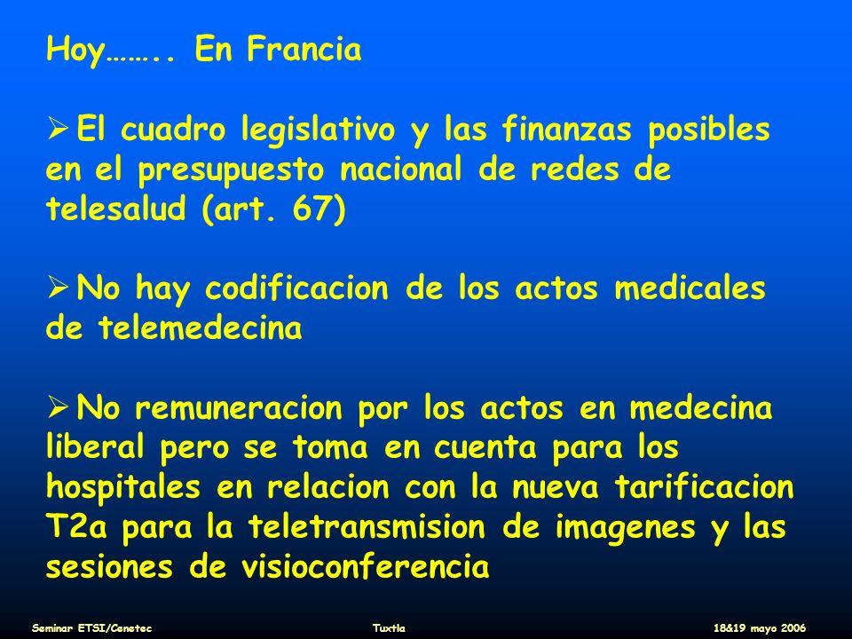 Hoy…….. En Francia El cuadro legislativo y las finanzas posibles en el presupuesto nacional de redes de telesalud (art. 67) No hay codificacion de los