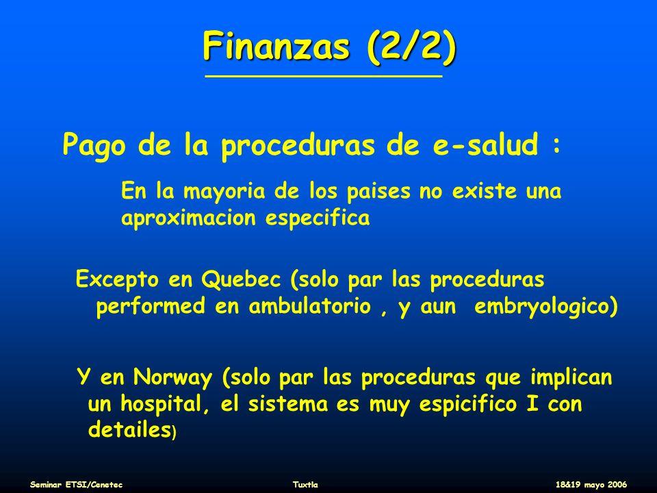 Finanzas (2/2) Pago de la proceduras de e-salud : En la mayoria de los paises no existe una aproximacion especifica Excepto en Quebec (solo par las pr