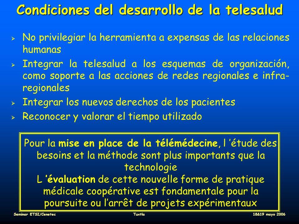 Condiciones del desarrollo de la telesalud No privilegiar la herramienta a expensas de las relaciones humanas Integrar la telesalud a los esquemas de