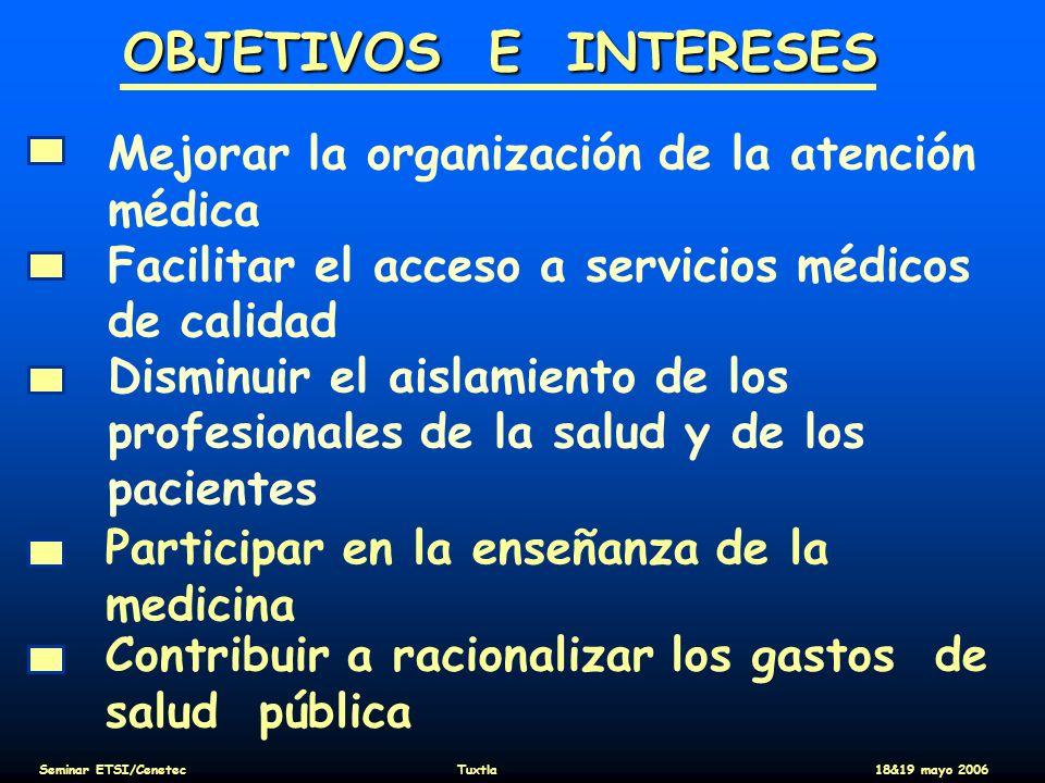 Finanzas (2/2) Pago de la proceduras de e-salud : En la mayoria de los paises no existe una aproximacion especifica Excepto en Quebec (solo par las proceduras performed en ambulatorio, y aun embryologico) Y en Norway (solo par las proceduras que implican un hospital, el sistema es muy espicifico I con detailes ) Seminar ETSI/CenetecTuxtla18&19 mayo 2006
