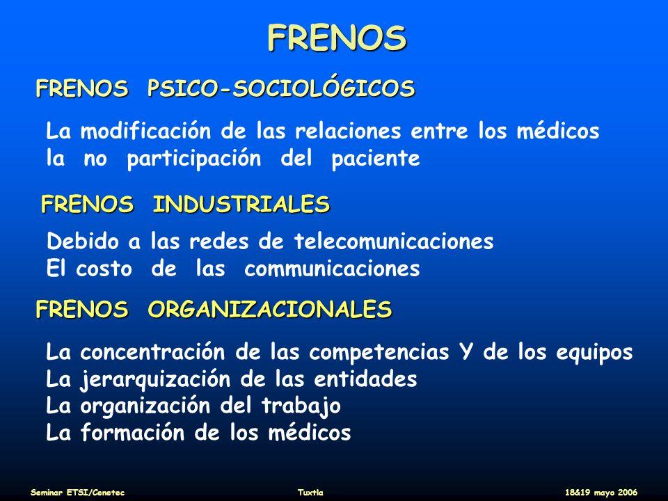 Seminar ETSI/CenetecTuxtla18&19 mayo 2006 FRENOS PSICO-SOCIOLÓGICOS La modificación de las relaciones entre los médicos la no participación del pacien