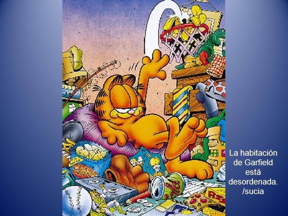 La habitación de Garfield está desordenada. /sucia
