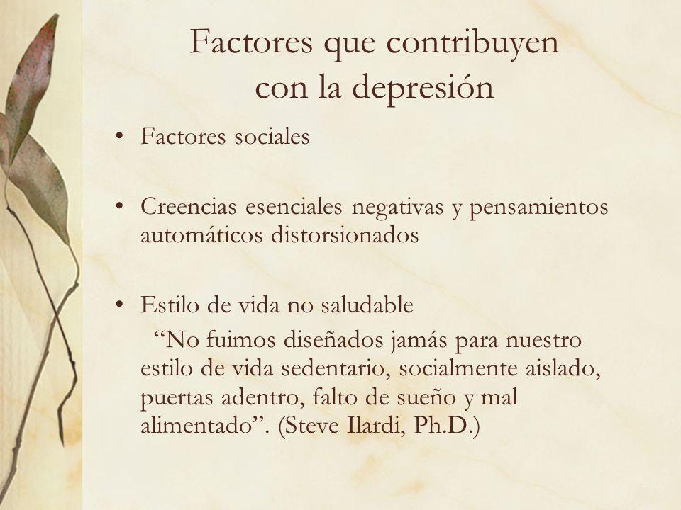 Factores que contribuyen con la depresión Factores sociales Creencias esenciales negativas y pensamientos automáticos distorsionados Estilo de vida no
