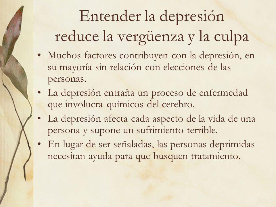 Entender la depresión reduce la vergüenza y la culpa Muchos factores contribuyen con la depresión, en su mayoría sin relación con elecciones de las pe
