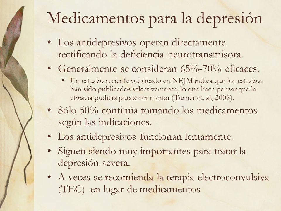 Medicamentos para la depresión Los antidepresivos operan directamente rectificando la deficiencia neurotransmisora. Generalmente se consideran 65%-70%