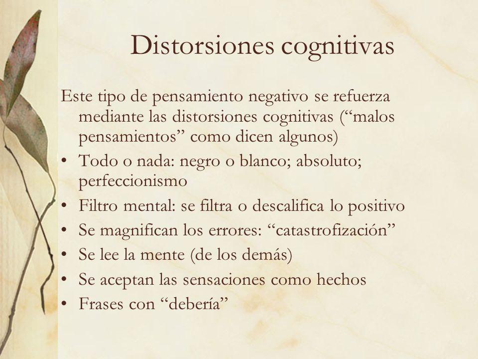 Distorsiones cognitivas Este tipo de pensamiento negativo se refuerza mediante las distorsiones cognitivas (malos pensamientos como dicen algunos) Tod