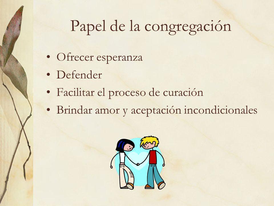 Papel de la congregación Ofrecer esperanza Defender Facilitar el proceso de curación Brindar amor y aceptación incondicionales