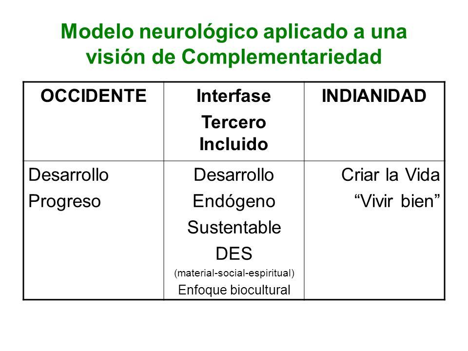 Modelo neurológico aplicado a una visión de Complementariedad OCCIDENTEInterfase Tercero Incluido INDIANIDAD Desarrollo Progreso Desarrollo Endógeno S