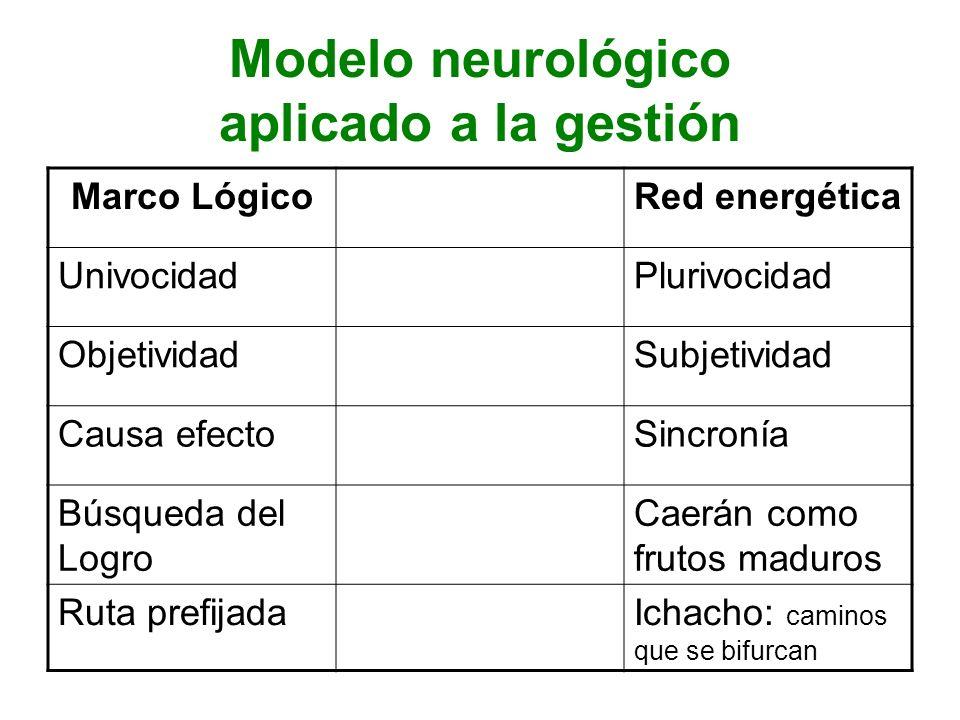 Modelo neurológico aplicado a la gestión Marco LógicoRed energética UnivocidadPlurivocidad ObjetividadSubjetividad Causa efectoSincronía Búsqueda del