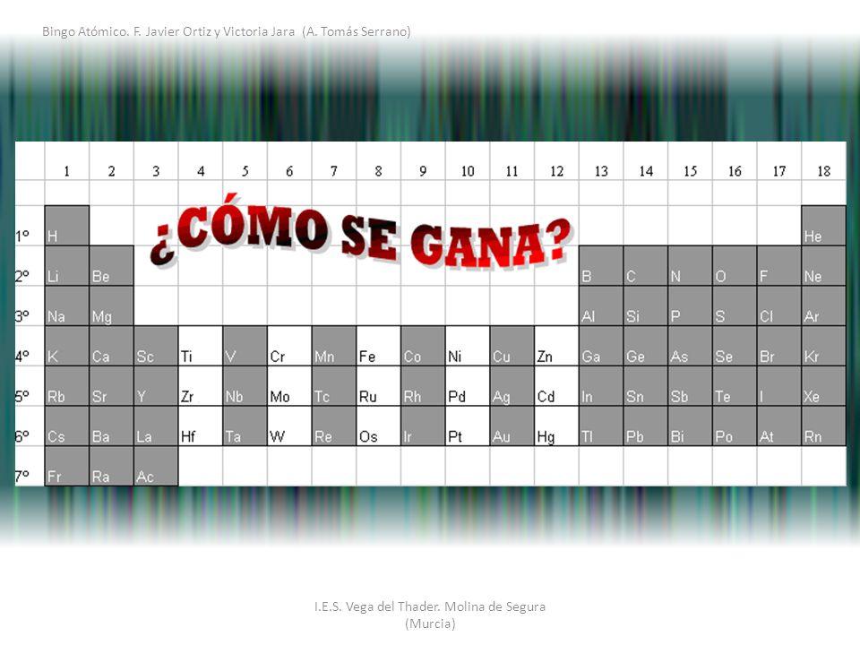 I.E.S. Vega del Thader. Molina de Segura (Murcia) Bingo Atómico. F. Javier Ortiz y Victoria Jara (A. Tomás Serrano)