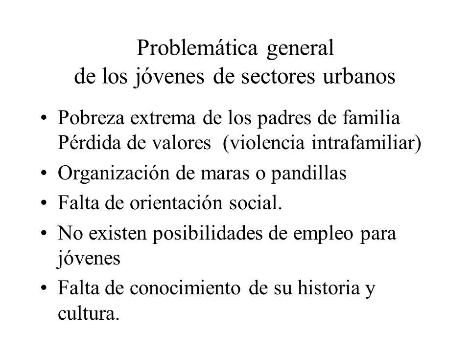 Problemática general de los jóvenes de sectores urbanos Pobreza extrema de los padres de familia Pérdida de valores (violencia intrafamiliar) Organiza