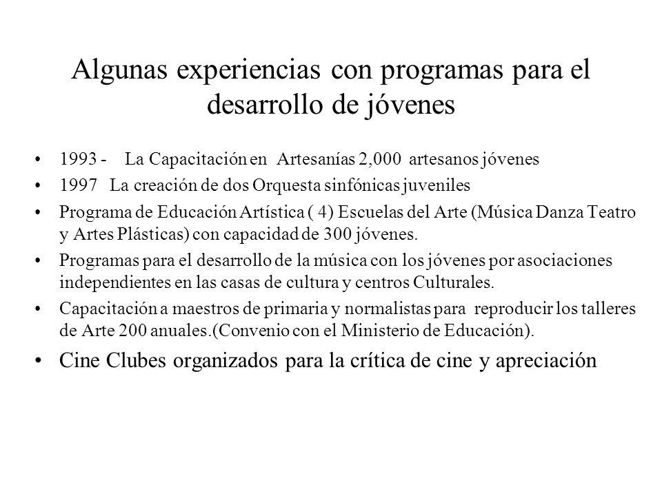 Algunas experiencias con programas para el desarrollo de jóvenes 1993 - La Capacitación en Artesanías 2,000 artesanos jóvenes 1997 La creación de dos