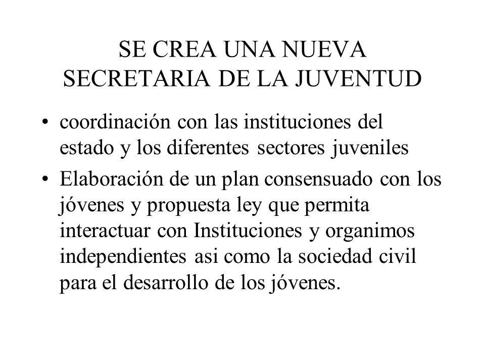SE CREA UNA NUEVA SECRETARIA DE LA JUVENTUD coordinación con las instituciones del estado y los diferentes sectores juveniles Elaboración de un plan c