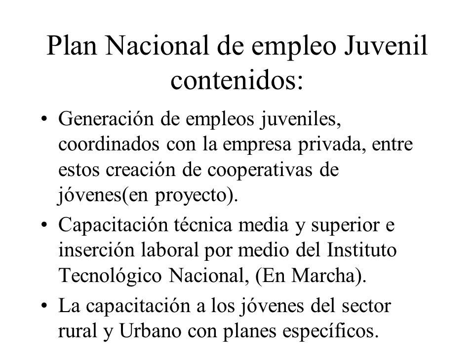 Plan Nacional de empleo Juvenil contenidos: Generación de empleos juveniles, coordinados con la empresa privada, entre estos creación de cooperativas