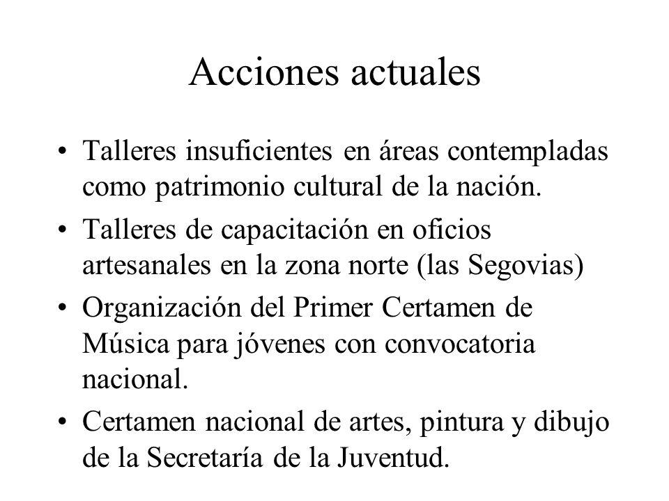 Acciones actuales Talleres insuficientes en áreas contempladas como patrimonio cultural de la nación. Talleres de capacitación en oficios artesanales