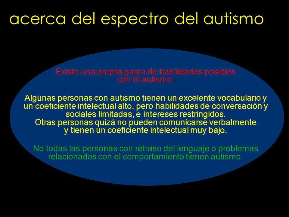 acerca del espectro del autismo Existe una amplia gama de habilidades posibles con el autismo. Algunas personas con autismo tienen un excelente vocabu