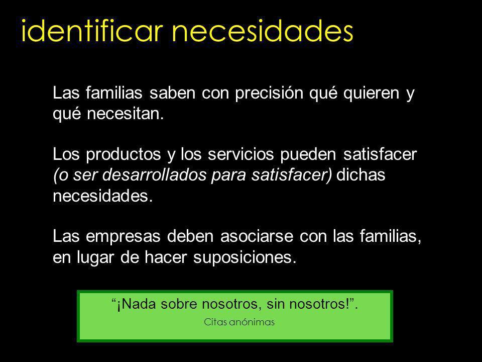 identificar necesidades Las familias saben con precisión qué quieren y qué necesitan. Los productos y los servicios pueden satisfacer (o ser desarroll