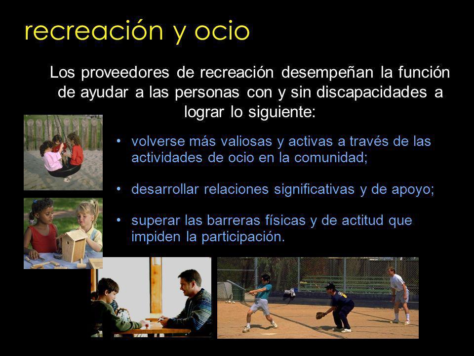 recreación y ocio volverse más valiosas y activas a través de las actividades de ocio en la comunidad; desarrollar relaciones significativas y de apoy