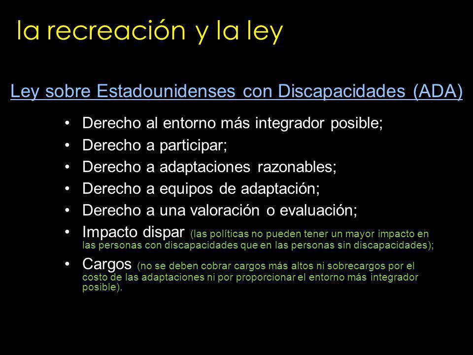 la recreación y la ley Derecho al entorno más integrador posible; Derecho a participar; Derecho a adaptaciones razonables; Derecho a equipos de adapta