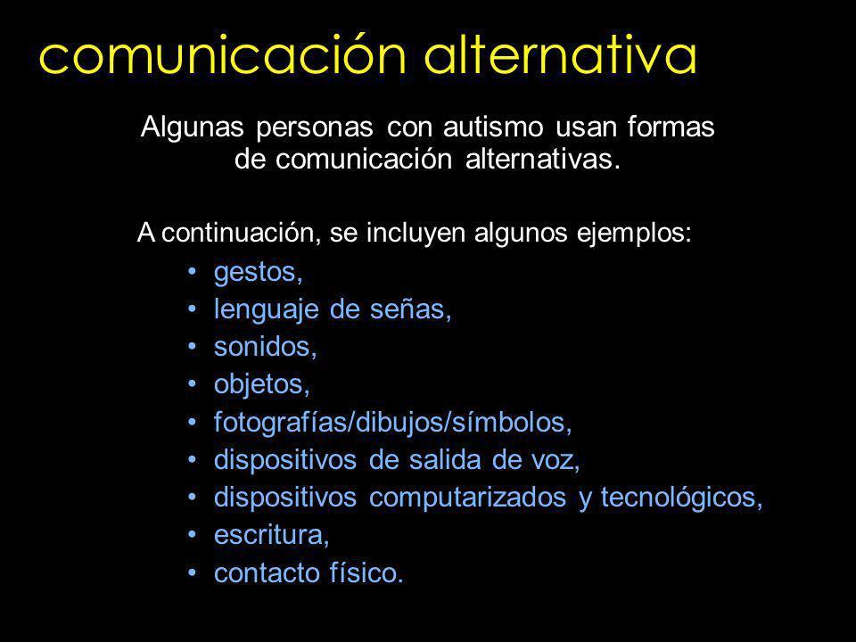 gestos, lenguaje de señas, sonidos, objetos, fotografías/dibujos/símbolos, dispositivos de salida de voz, dispositivos computarizados y tecnológicos,