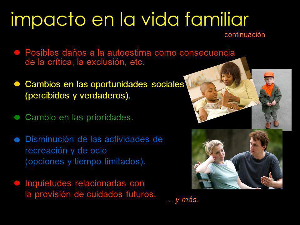 impacto en la vida familiar Posibles daños a la autoestima como consecuencia de la crítica, la exclusión, etc. Cambios en las oportunidades sociales (