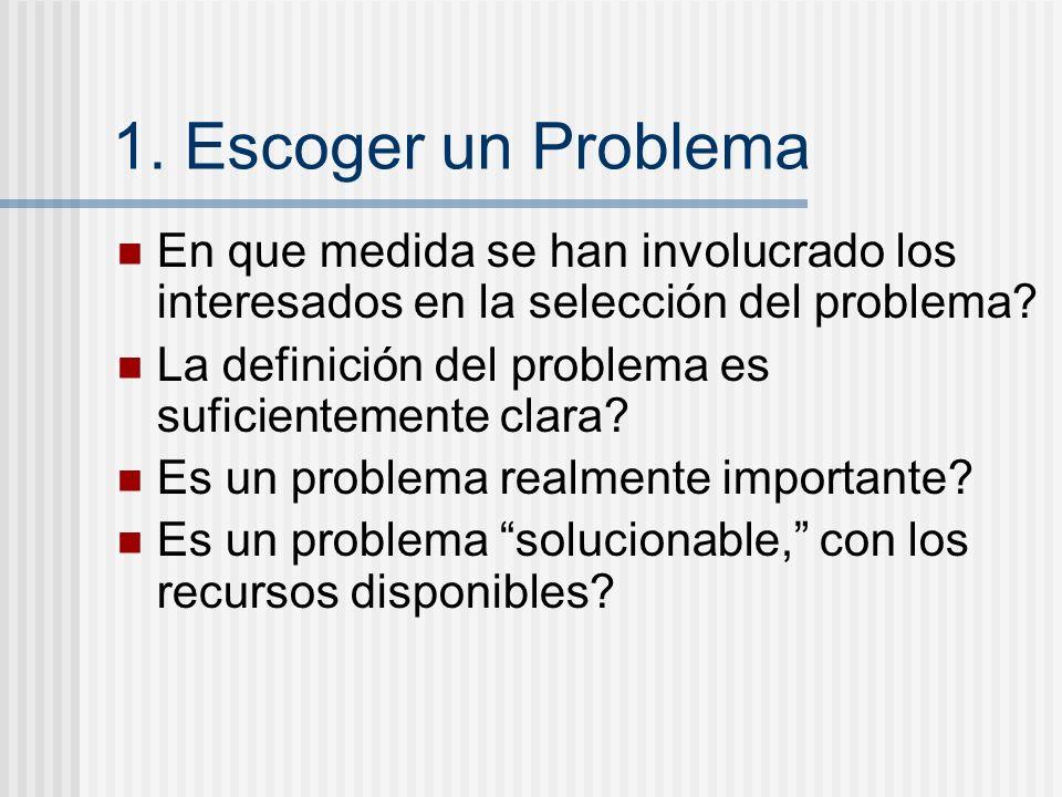 1. Escoger un Problema En que medida se han involucrado los interesados en la selección del problema? La definición del problema es suficientemente cl