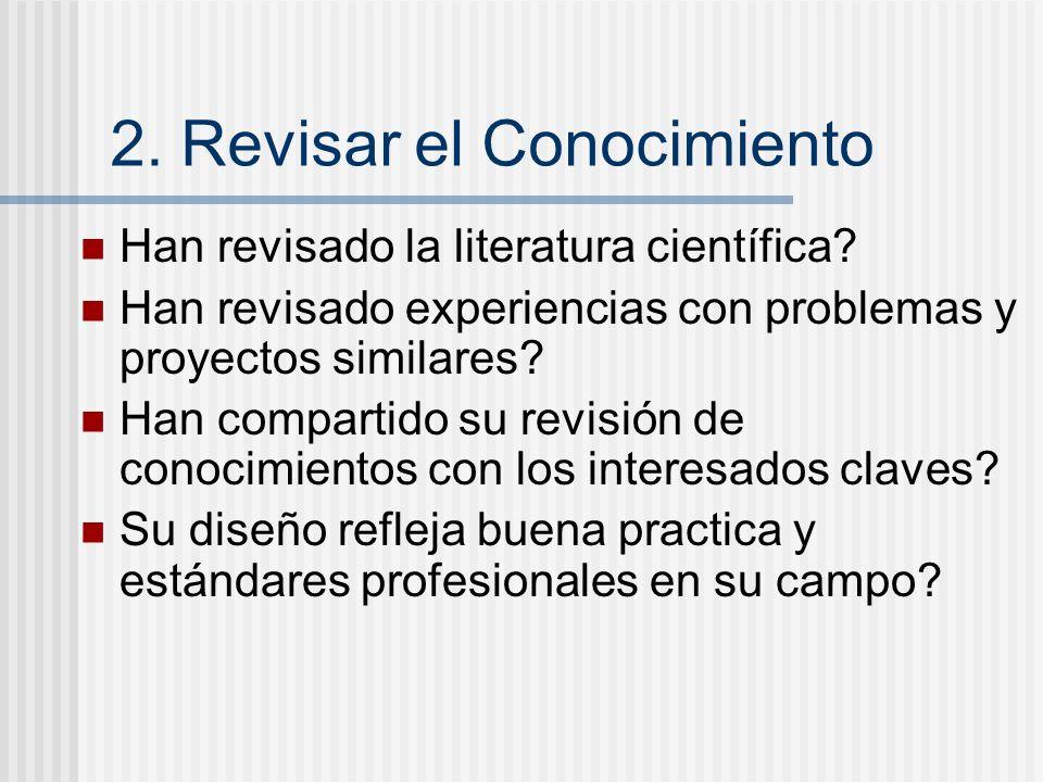 2. Revisar el Conocimiento Han revisado la literatura científica? Han revisado experiencias con problemas y proyectos similares? Han compartido su rev