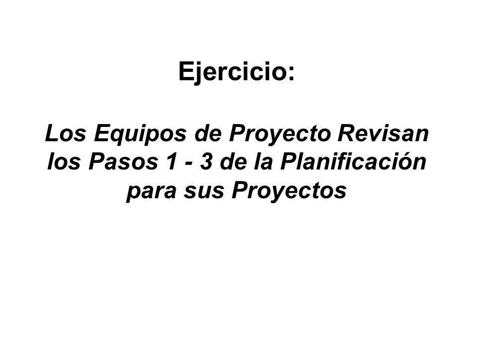 Ejercicio: Los Equipos de Proyecto Revisan los Pasos 1 - 3 de la Planificación para sus Proyectos