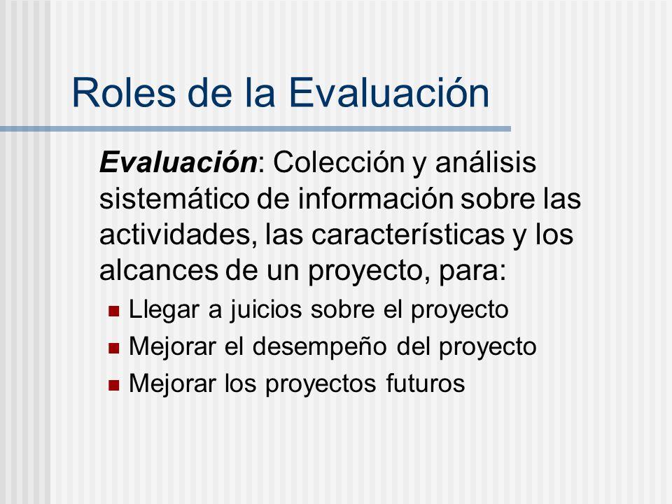 Roles de la Evaluación Evaluación: Colección y análisis sistemático de información sobre las actividades, las características y los alcances de un pro