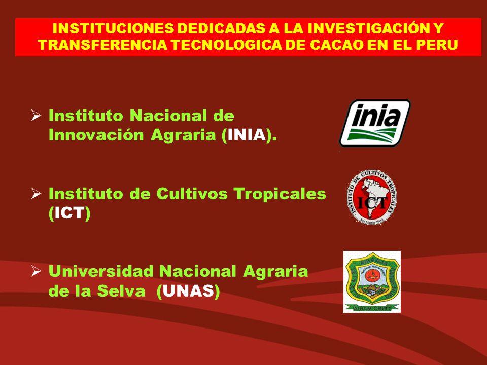 INSTITUCIONES DEDICADAS A LA INVESTIGACIÓN Y TRANSFERENCIA TECNOLOGICA DE CACAO EN EL PERU Instituto Nacional de Innovación Agraria (INIA). Instituto