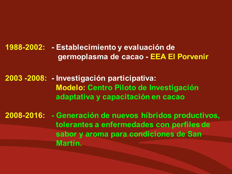 1988-2002:- Establecimiento y evaluación de germoplasma de cacao - EEA El Porvenir 2003 -2008:- Investigación participativa: Modelo: Centro Piloto de