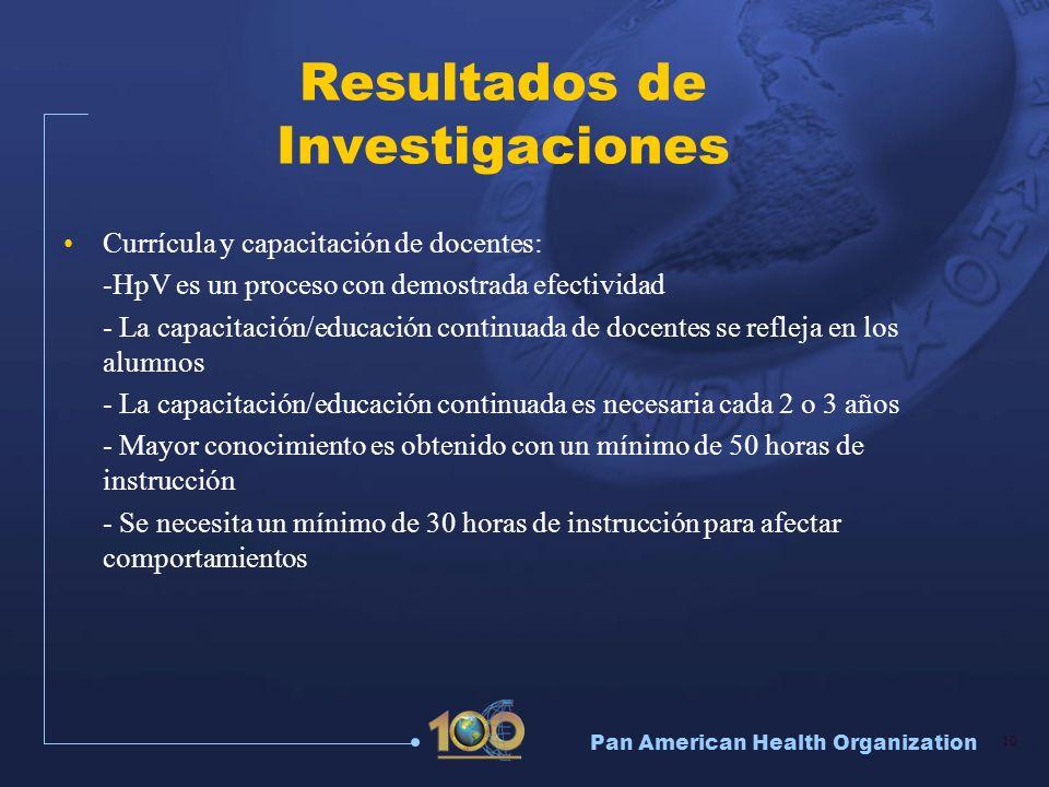 Pan American Health Organization 10 Resultados de Investigaciones Currícula y capacitación de docentes: -HpV es un proceso con demostrada efectividad