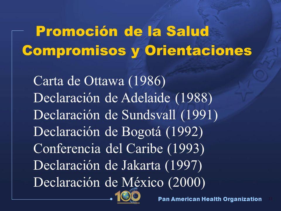 Pan American Health Organization 13 Compromisos y Orientaciones Carta de Ottawa (1986) Declaración de Adelaide (1988) Declaración de Sundsvall (1991)