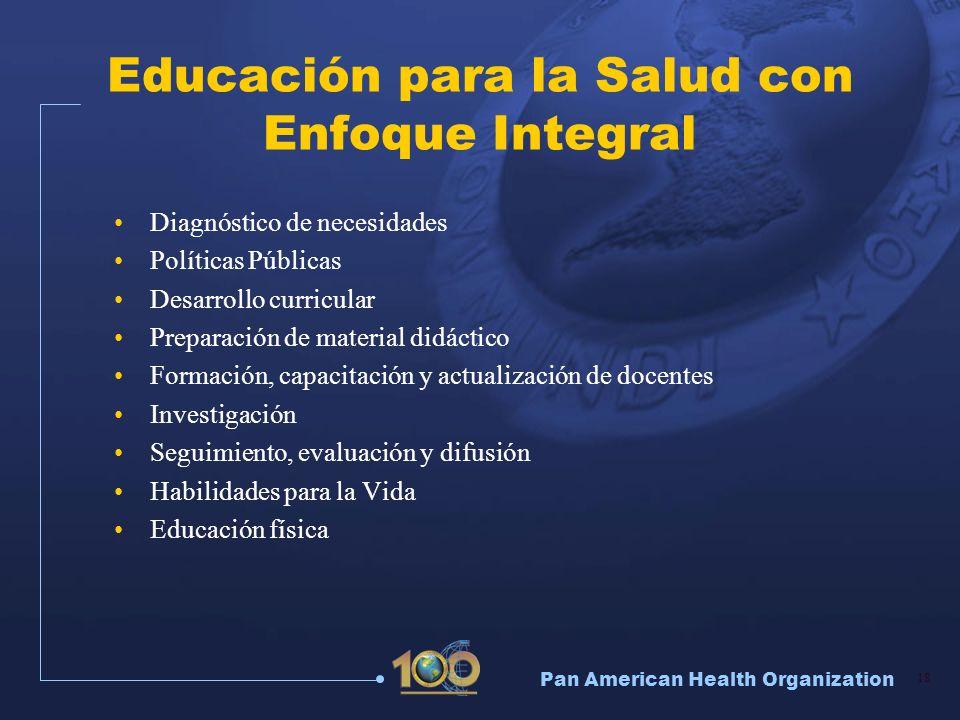 Pan American Health Organization 18 Educación para la Salud con Enfoque Integral Diagnóstico de necesidades Políticas Públicas Desarrollo curricular P